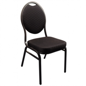 Bolero Steel Banqueting Chair Oval Back with Black Plain Cloth (Pack 4)
