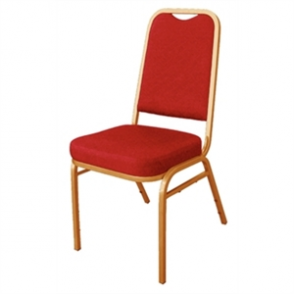 Bolero Banqueting Chair Squared Back Gold Frame Red Plain Cloth (Pack 4)
