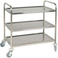 3 Tier Flat Pack Trolley St/St - 860Lx535Wx930mmH
