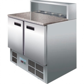 Polar Refrigerated 2 Door Pizza Prep 900mm Counter Marble Top (M)