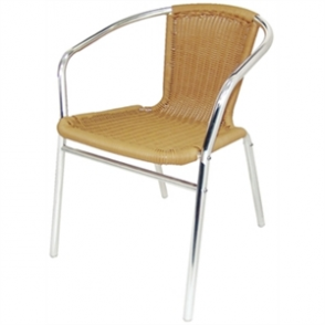 Bolero Wicker Armchair Alu. & PVC 53Wx58Dx73.5Hcm (Pack 4)