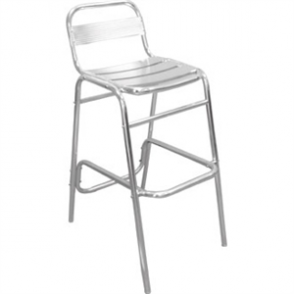 Aluminium Bar Stool with Back Tube St/St - W45xD48xH78.5/96cm (Pack 4)