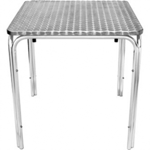 Bolero Stacking Square Table St/St with Curved Edge