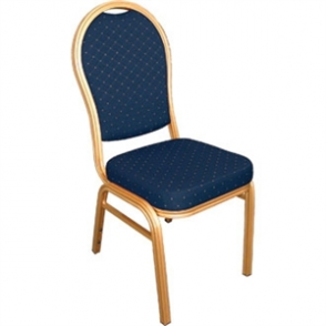 Bolero Banqueting Chair Arched Back Gold Frame Blue Speckle Cloth (Pack 4)