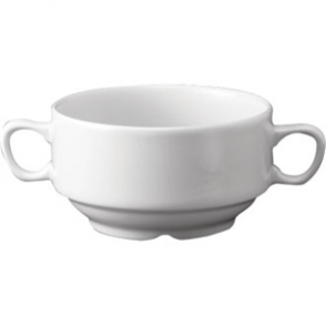 White Nova Consomme Bowl with Handles 14oz (Box 24)