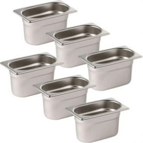Sale Offer : Set of 6 Vogue St/St GN - 1/9 100mm pans & Lids