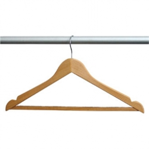 Bolero Wooden Hanger with Standard Hook Natural (Pack 10)