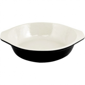 Vogue Black Cast Iron Round Gratin Dish 750ml