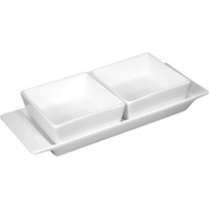 Olympia Whiteware 2 Section Dishes With Plate - 220x90mm 8 3/4x3 1/2 (Box 2)