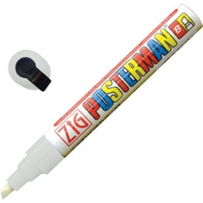 White Zig Posterman All Weather Narrow Chisel Point Marker White - 2x6mm