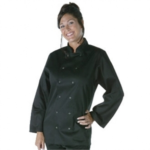 Whites Vegas Unisex Chefs Jacket Long Sleeve Black