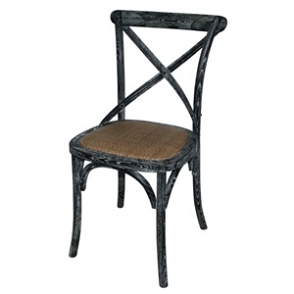 Wooden Dining Chairs with Backrest Black (Pack of 2)
