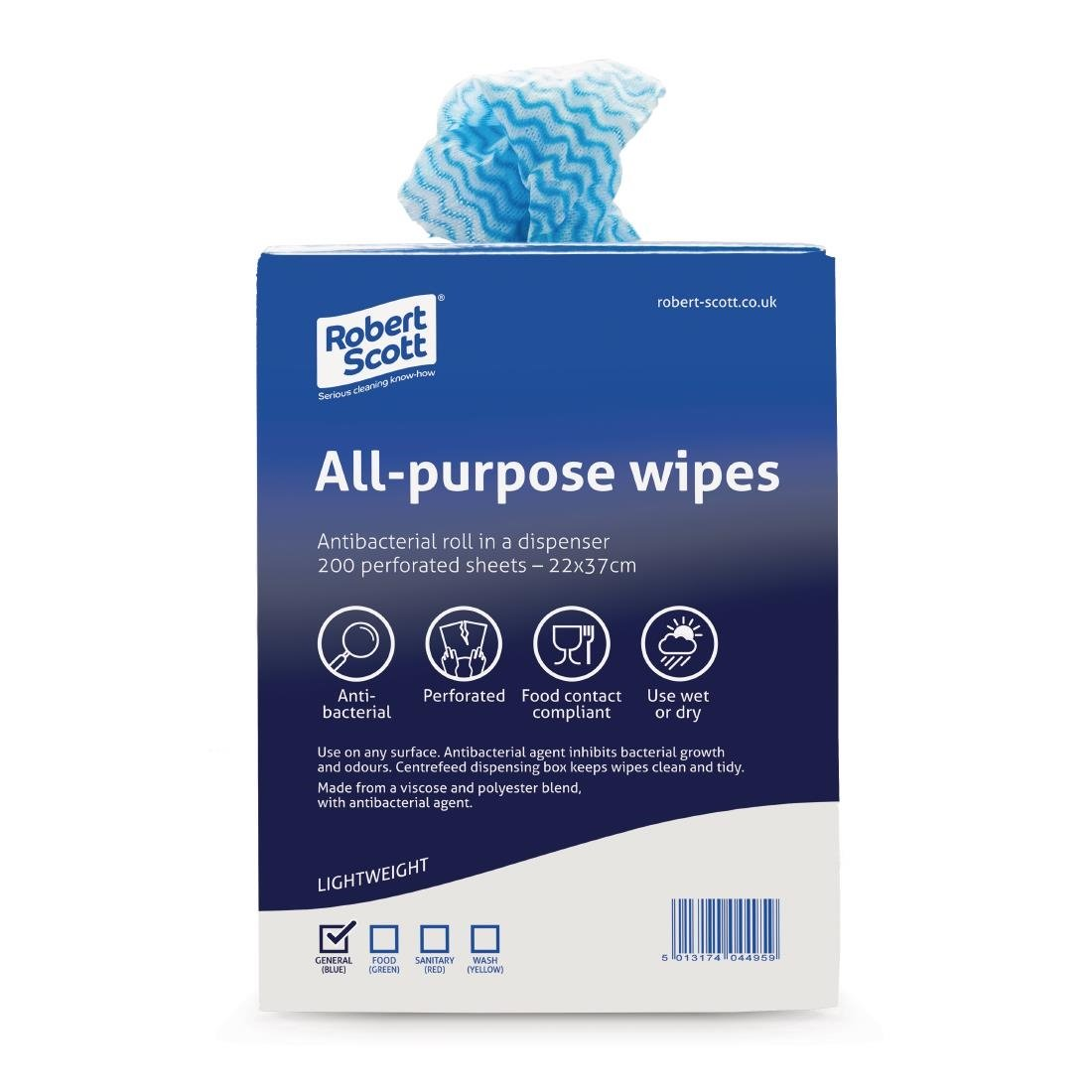 Jantex All-Purpose Antibacterial Cleaning Cloths Blue (200 Pack)