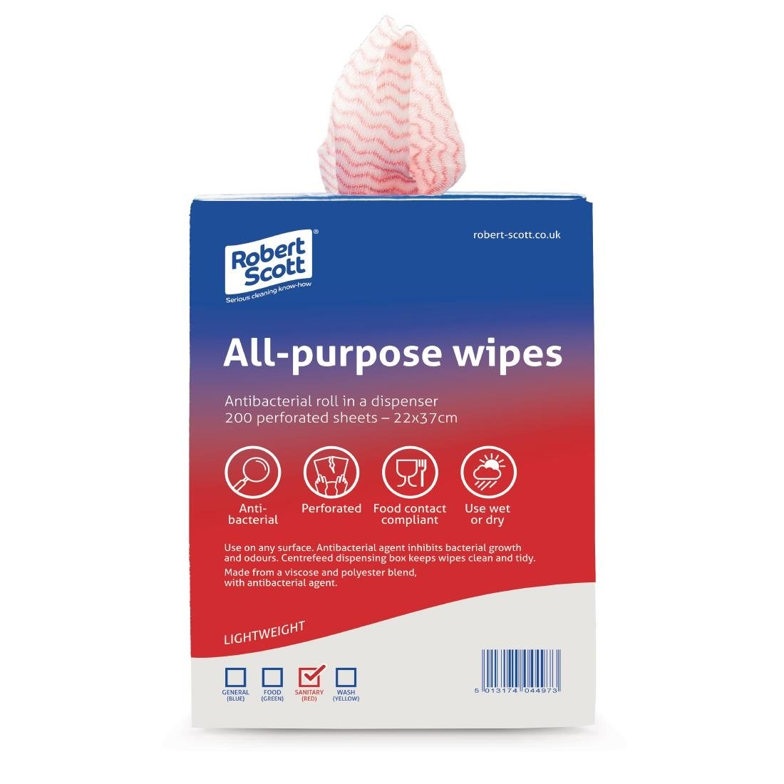 Jantex All-Purpose Antibacterial Cleaning Cloths Red (200 Pack)