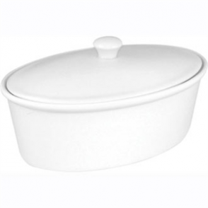 Olympia Whiteware Cookware Oval Pot & Lid - 262x188x155 (Single)