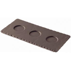 Revol Basalt Tray with 3 Indents 250mm (Box 6)