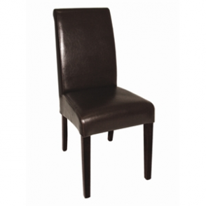 Bolero Curved Back Leather Chair Dark Brown (Pack of 2)