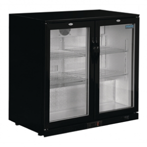 Polar Double Hinge Door Back Bar Chiller in Black with LED Lighting