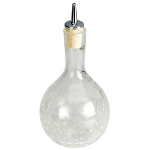 Dash Bottle Round Crackle Glass 330ml
