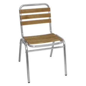 Bolero Aluminium and Ash Bistro Sidechair (4 PER PACK)
