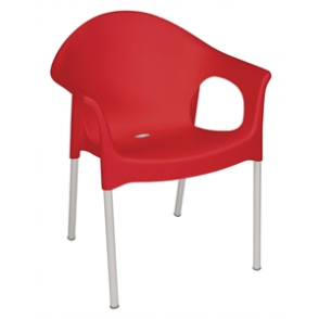 Bolero Stacking Bistro Armchairs Red (4 Per Pack)