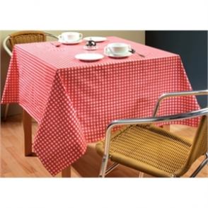 "Red Check Tablecloth 890 x 890mm. 35 x 35""."