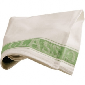 Glass Cloth Linen Union Green Border - 76x51cm