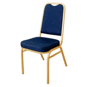 Bolero Banqueting Chair Squared Back Gold Frame Blue Plain Cloth (Pack 4)