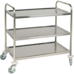 Vogue 3 Tier Flat Pack Trolley St/St - 810Lx455Wx855mmH