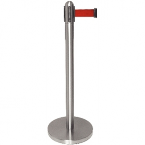 Bolero St/St Retractable Barrier with Red Ribbon