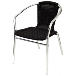 Bolero Black Wicker Chair with Aluminium Frame (Pack 4)