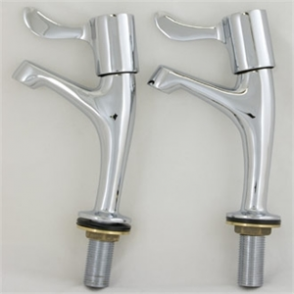 Vogue Pair Necked Pillar Sink Taps - 3 Lever 1/2 High