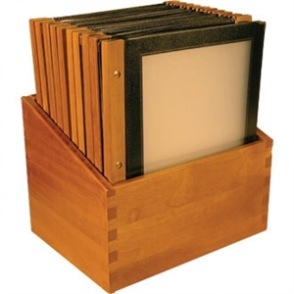 Wooden Spine Menu Holders A4. Colour: Black. 20 menu holders with stand box