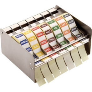 Vogue Label Dispenser & Set of Colour Coded Food Labels (7x rolls of 1000 labels and dispenser)