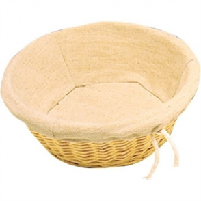 Wicker Basket with Removable Cloth Round - 90x245x245mm
