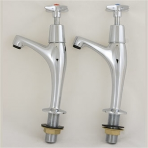 Vogue Pair Cross-Head High Neck Pillar Sink Taps - 1/2