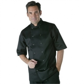 Whites Vegas Unisex Chefs Jacket Short Sleeve Black