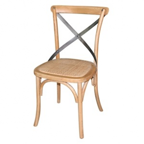 Wooden Dining Chairs with Backrest Natural Finish (Pack of 2)