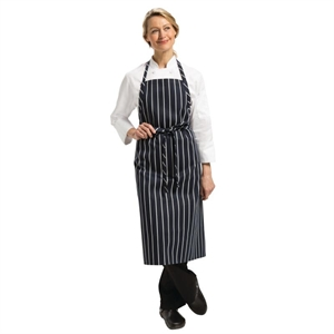 Chef Works Premium Woven Apron Navy and White Stripe