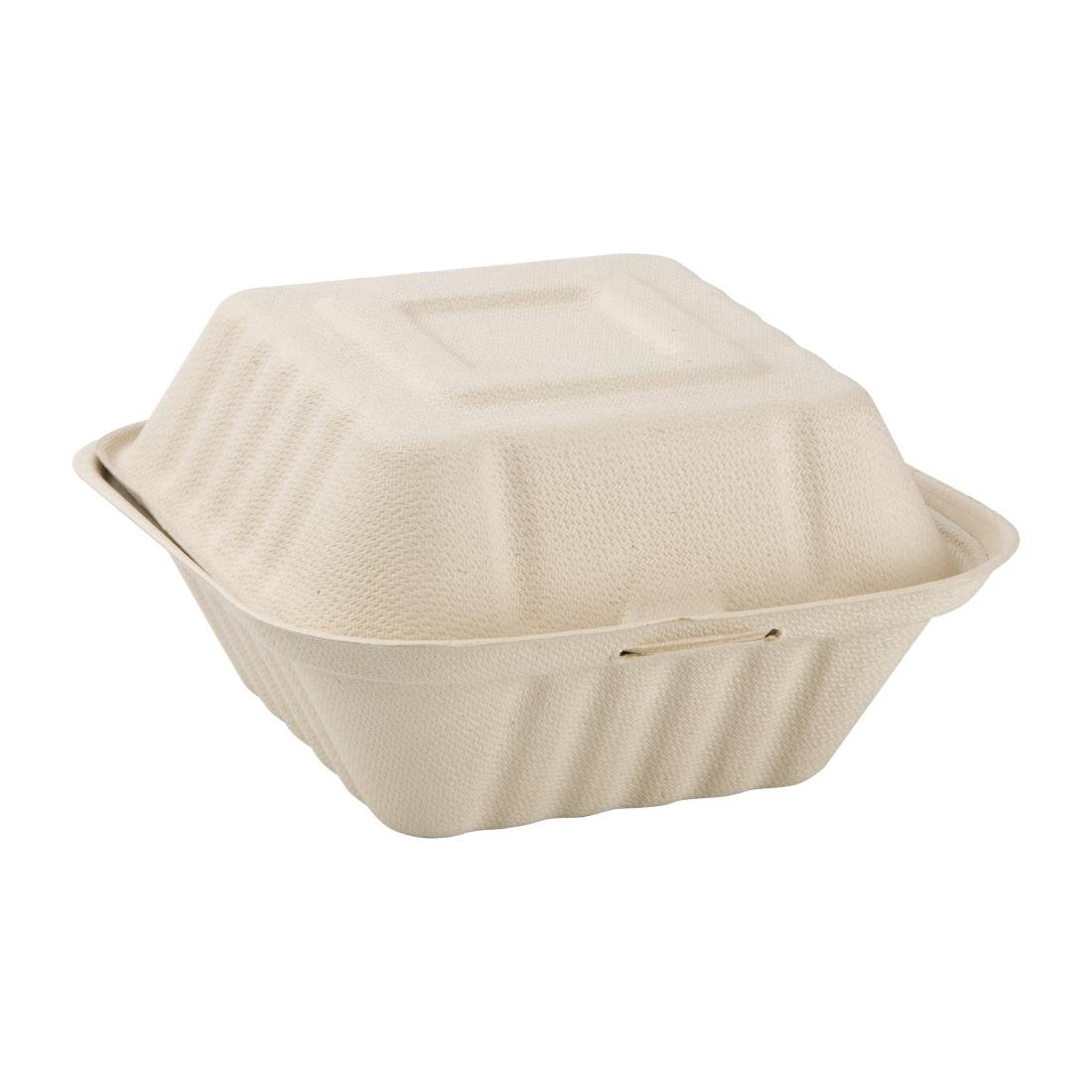 "Greenspirit 6"" Burger Box Bagasse Compostable  (Pack 8 x 50 per case)"