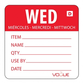 Vogue Red Dissolvable Wednesday Labels (Pack of 250)