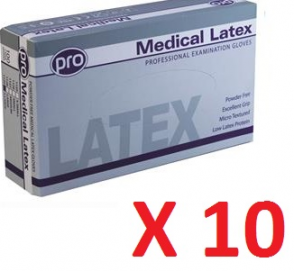 Clear Latex Gloves Medical Grade - Powder Free (10 boxes per case)