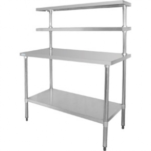 Vogue Table with Gantry Shelf St/St - 1500(h) x 1800(w) x 600mm (h)