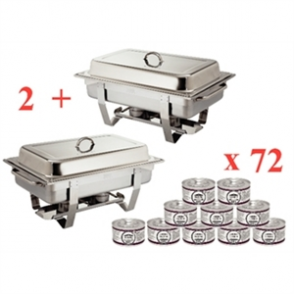 Sale Offer : Milan Chafer Set Twin Pack Offer GN - 1/1 with 72 Gel Fuel Tins
