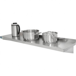 Vogue Wall Shelf with Brackets St/St - 1800x300mm