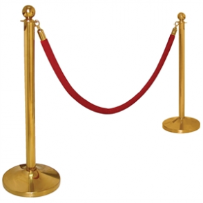 Stainless Steel Barrier Post Brass Plated Ball Top
