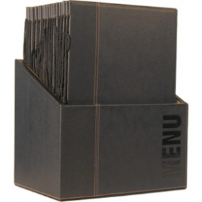 Contemporary Menu Holder Set Black A4 (Pack 20 with Stand Box)