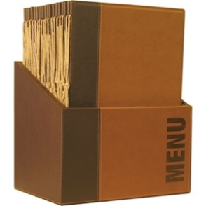 Securit Contemporary Menu Holder Set Brown A4 (Pack 20 with Stand Box)