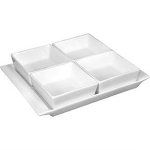 Olympia Whiteware 4 Section Dishes With Plate - 215x170mm 8 1/2x6 3/4 (Box 2)