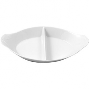 Olympia Divided Oval Eared Dish White 290Wx160mmD 11 1/2x6 1/4 (Box 6)